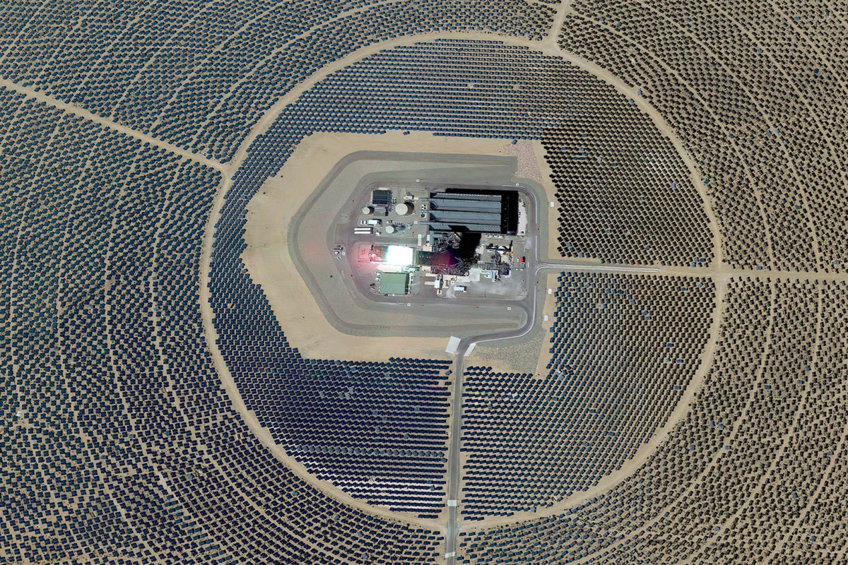 Ivanpah Solar Electric Generating System in Baker, California. Photo credit: NASA