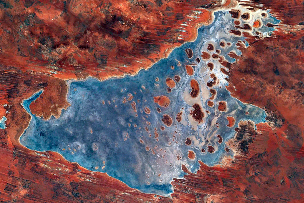 Kumpupintil Lake, an endorheic salt lake in Western Australia. Photo credit: NASA