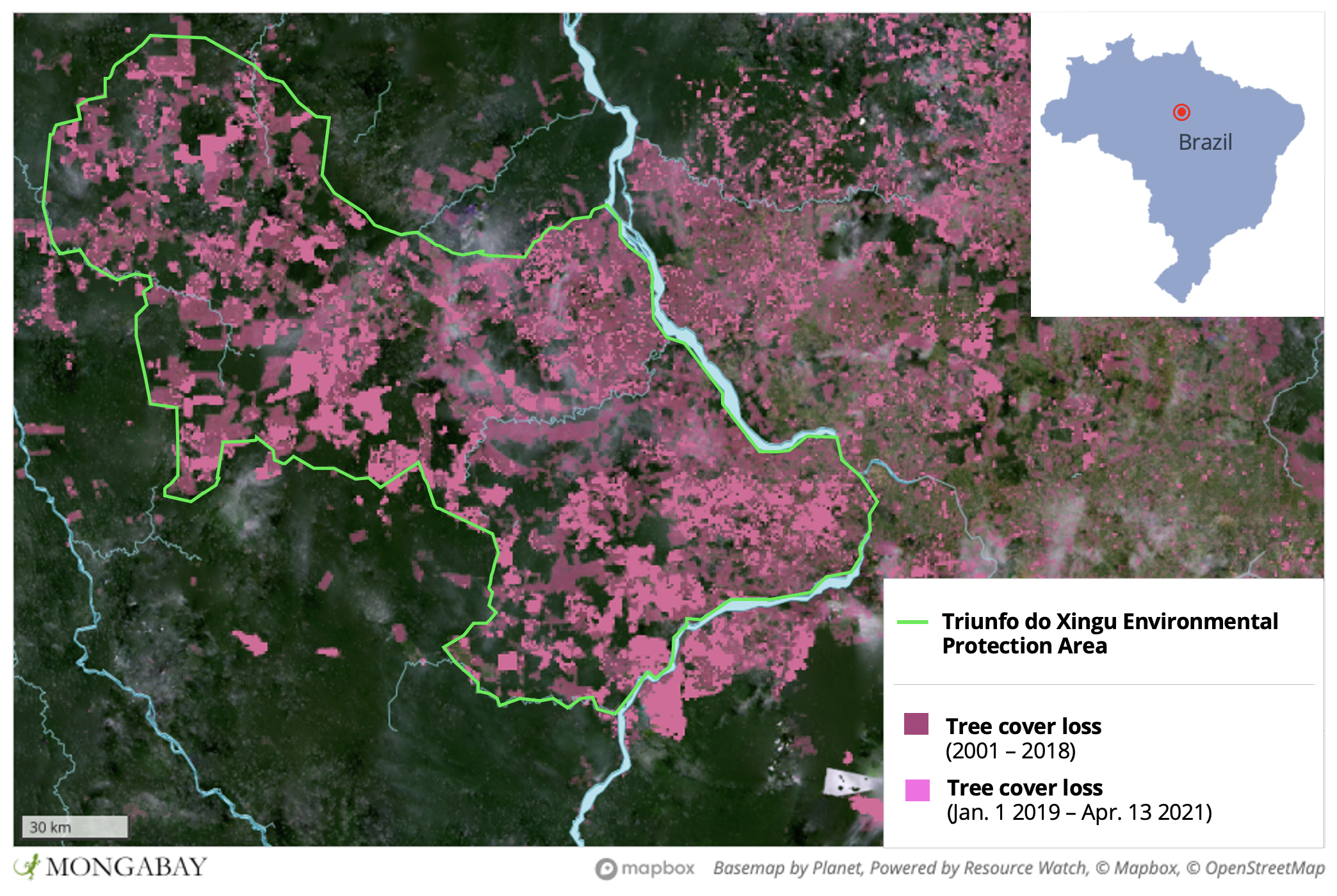 Satellite data from the University of Maryland show much of Triunfo do Xingu has been cleared since 2001.