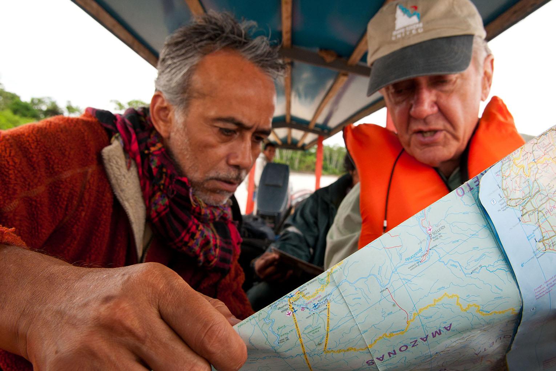 Enrique Ortiz and Bruce Babbitt in the Amazon.