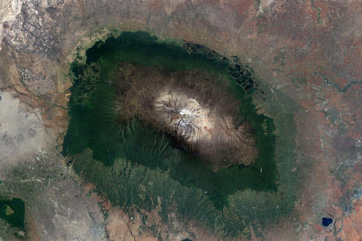 NASA Landsat satellite image of Mount Kilamanjaro in Tanzania. Marangu is on the southeastern slope.