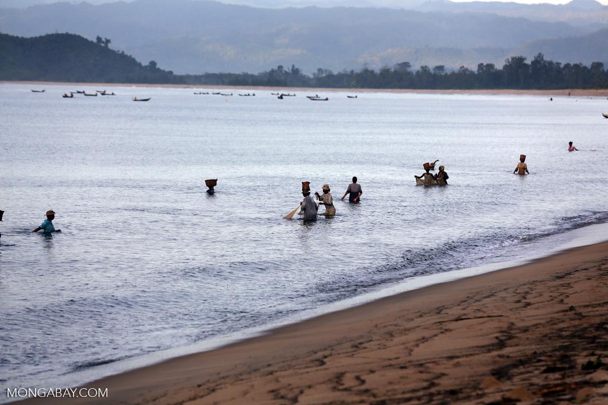 Women fishing in the Bay of Antongil. Photo credit: Rhett A. Butler
