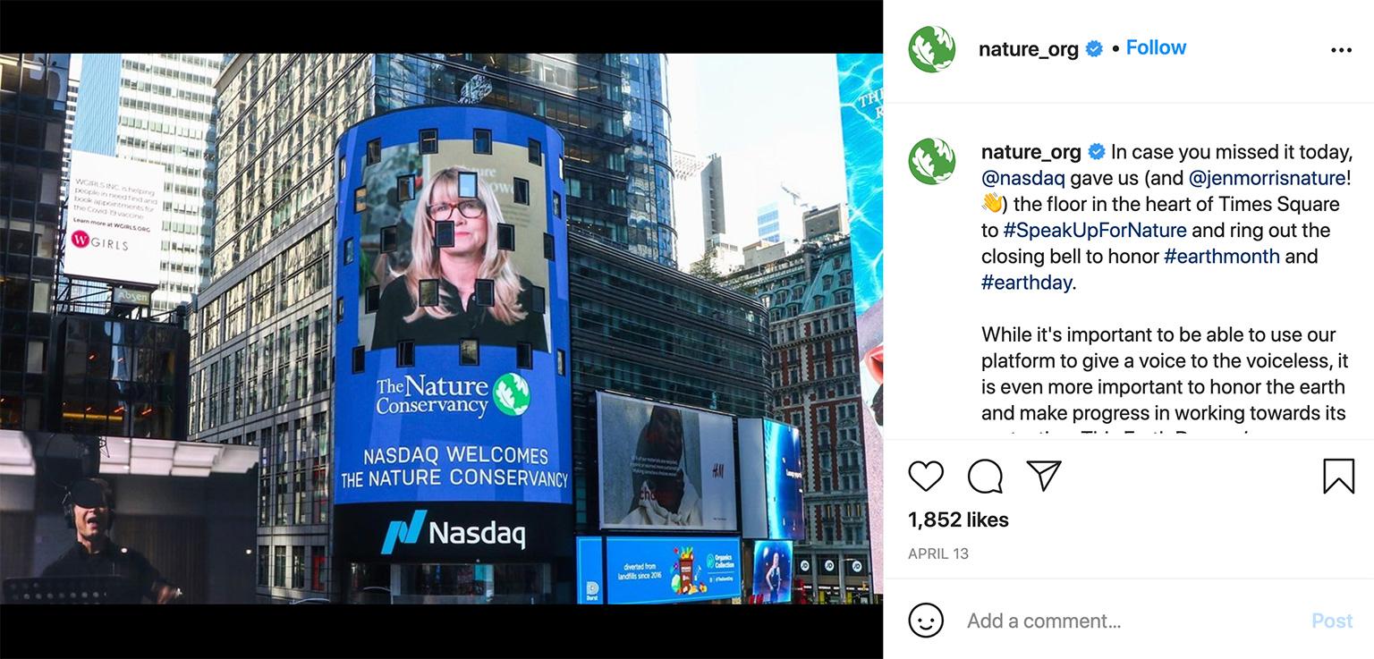 Morris rang the closing bell at NASDAQ in honor of Earth Day 2021.