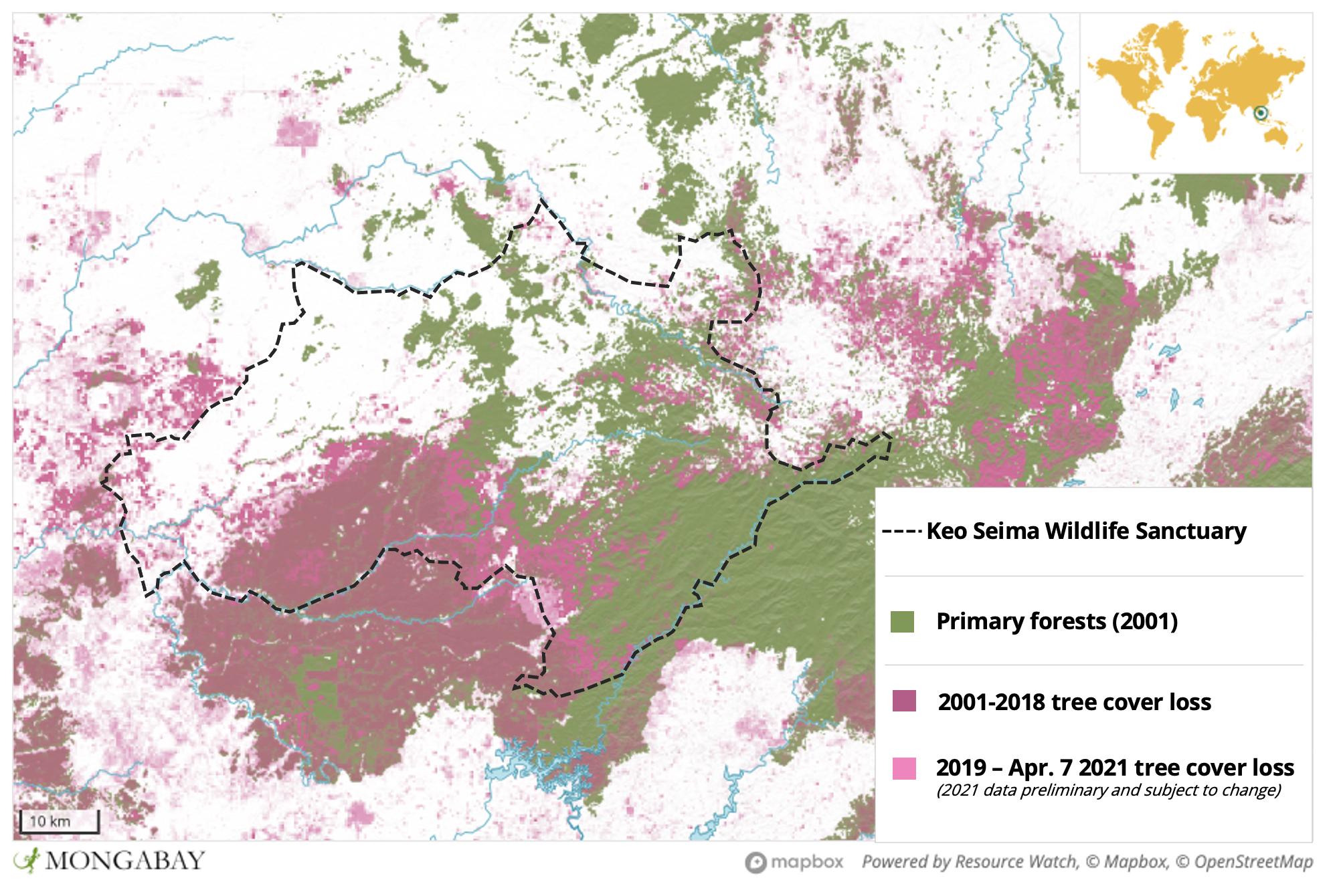 Satellite data show massive tree cover loss in and around Keo Seima Wildlife Sanctuary.