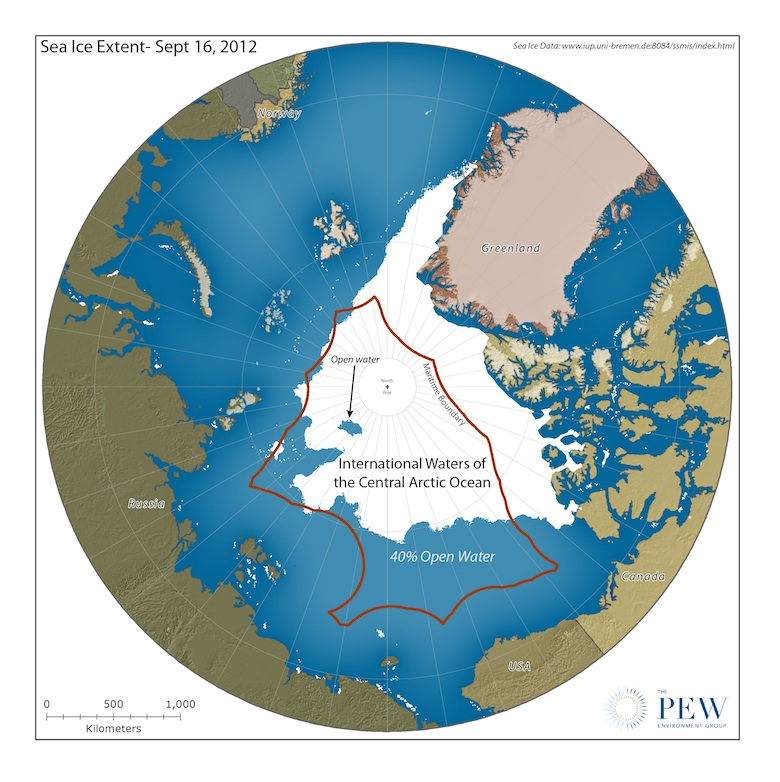 Map showing the Central Arctic Ocean, the area closed to fishing under the Arctic Fisheries Declaration, which has been signed by ten parties. Image courtesy of The Pew Charitable Trusts.