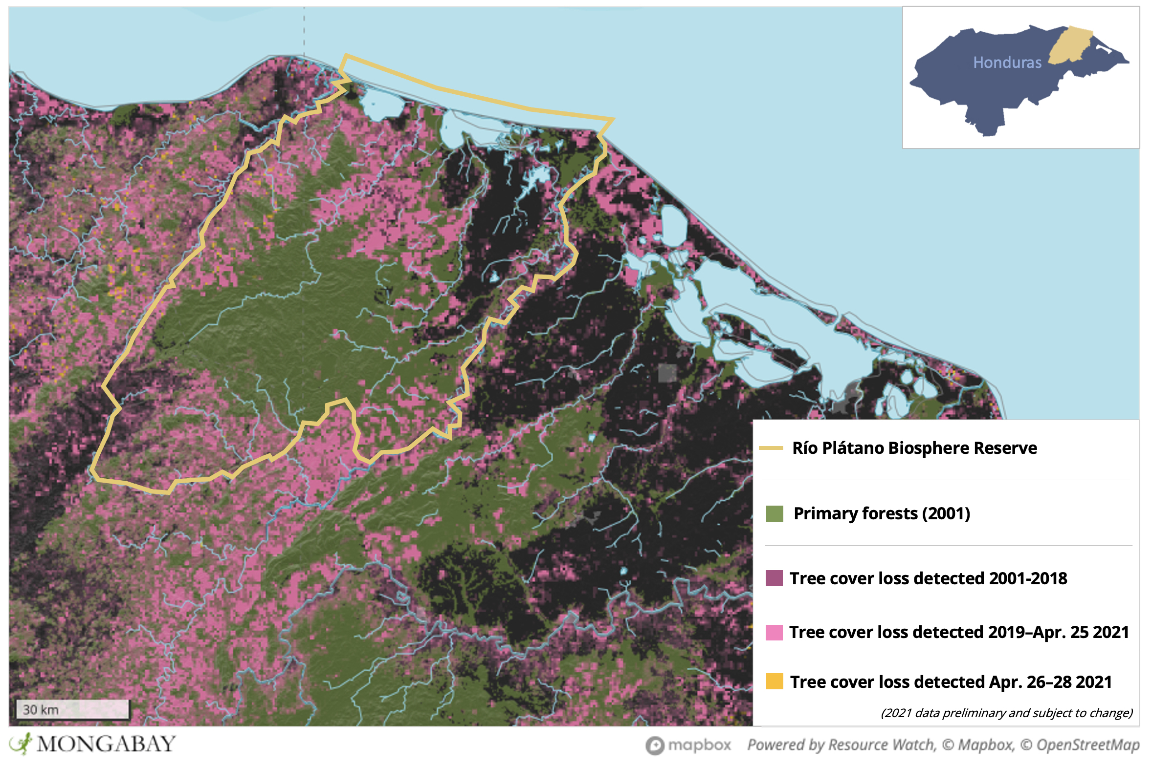 Satellite data show large areas of tree cover loss in and around Río Plátano Biosphere Reserve.Satellite data show large areas of tree cover loss in and around Río Plátano Biosphere Reserve.
