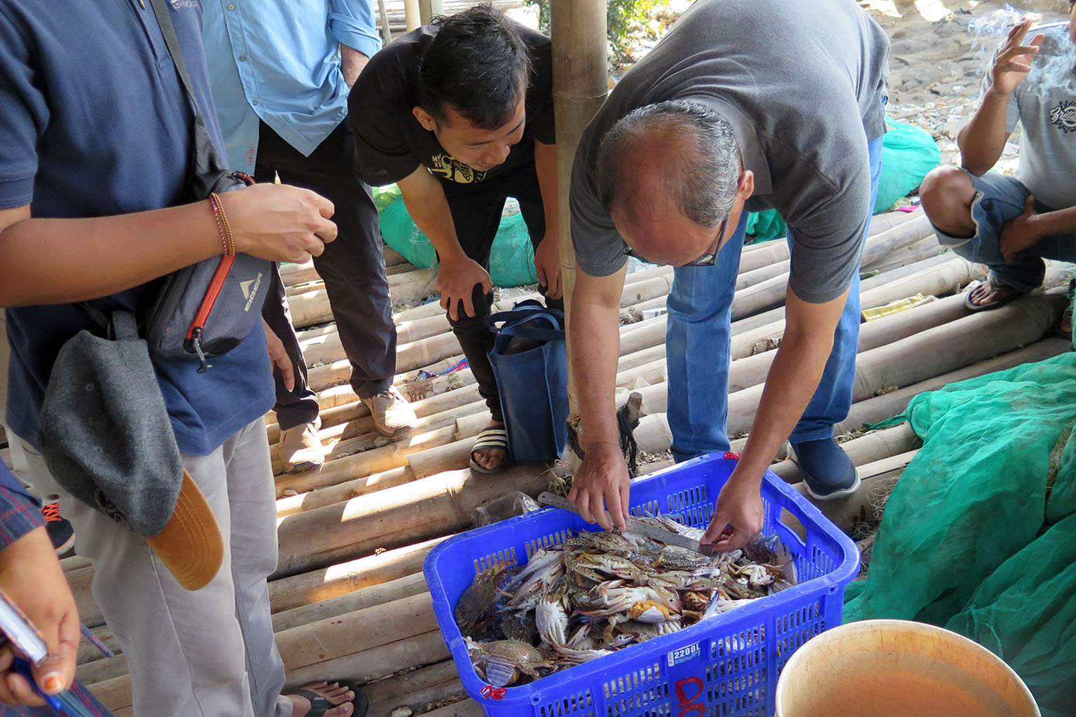 Surveying a catch in Indonesia. Photo credit: EDF