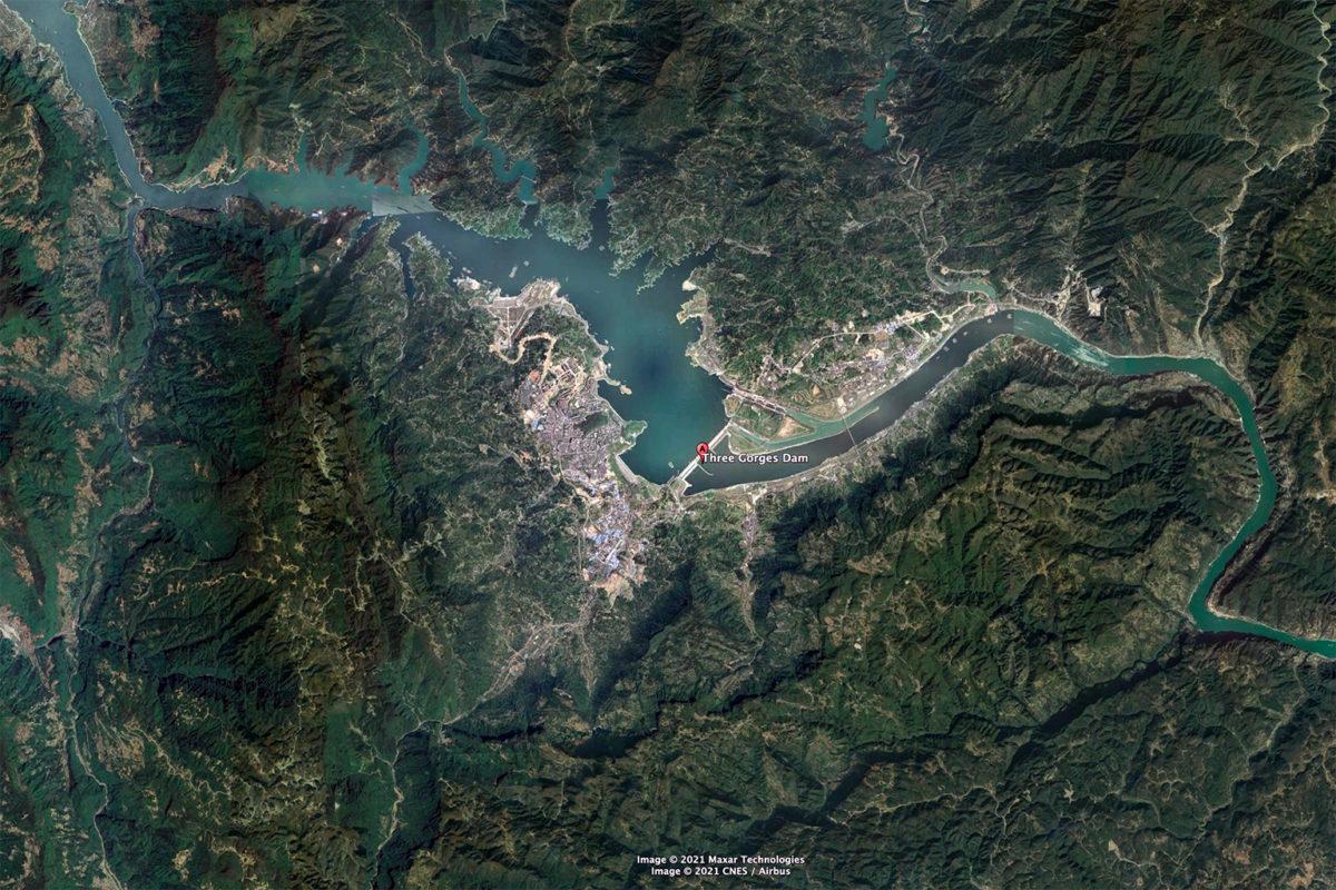 Satellite image of Three Gorges Dam, China. Photo credit: Maxar.