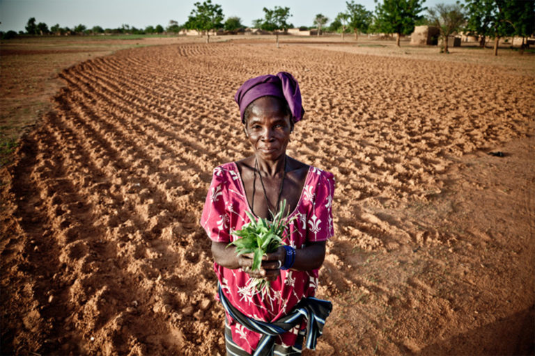 Suzanne Ouedrago, a farmer from Fanka, Burkina Faso, shows the greens she was left with to feed her family due to long-term drought, failed crops and rising food prices.