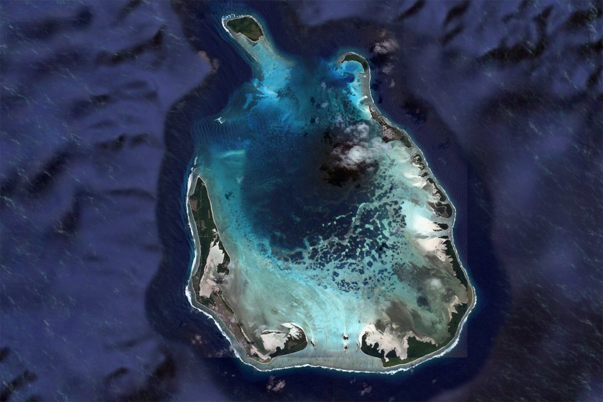 Satellite image of Cocos (Keeling) Islands. Image credit: Maxar Technologies