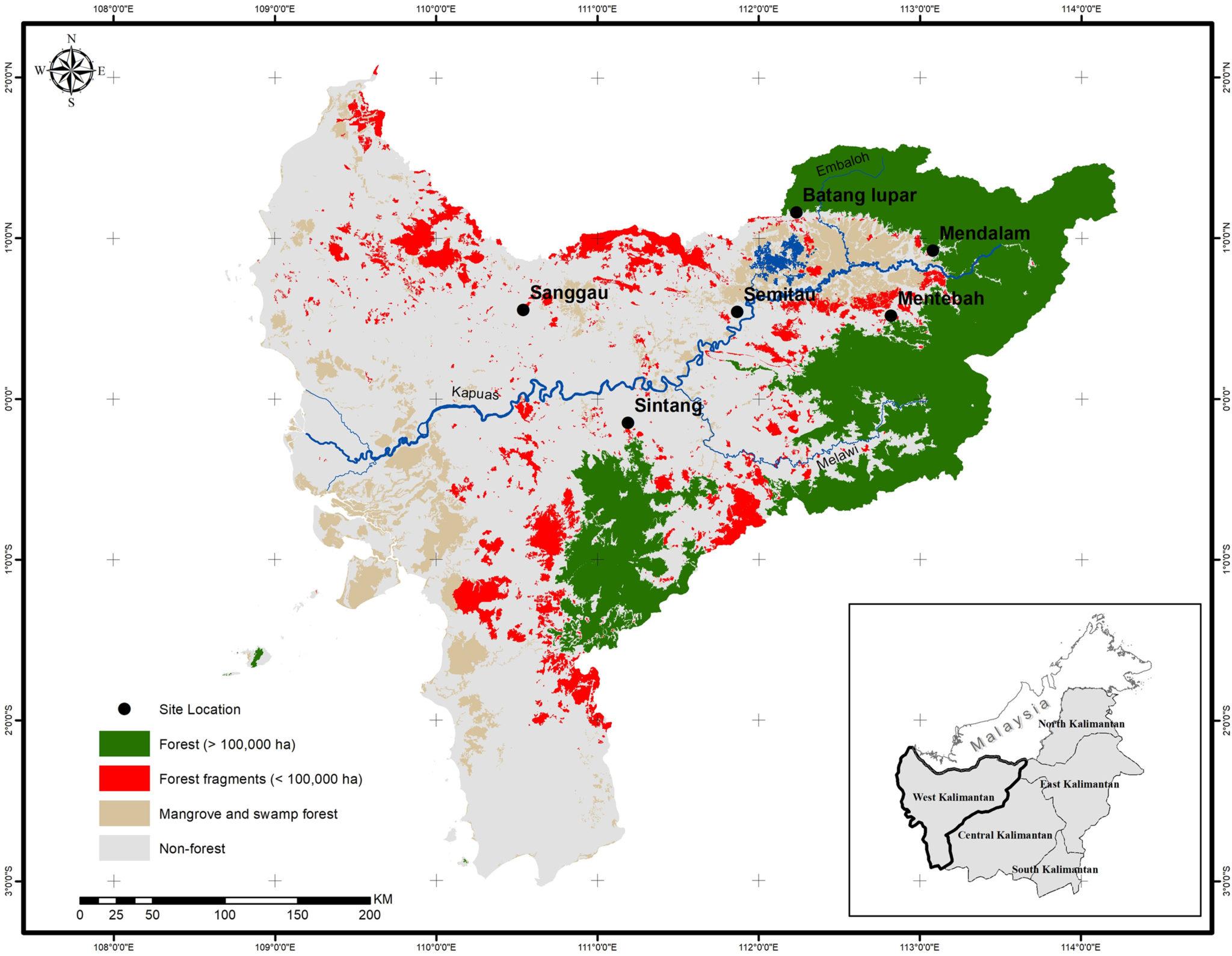 Sampled sites in West Kalimantan province for the study. Image courtesy of Simamora et al. (2021).