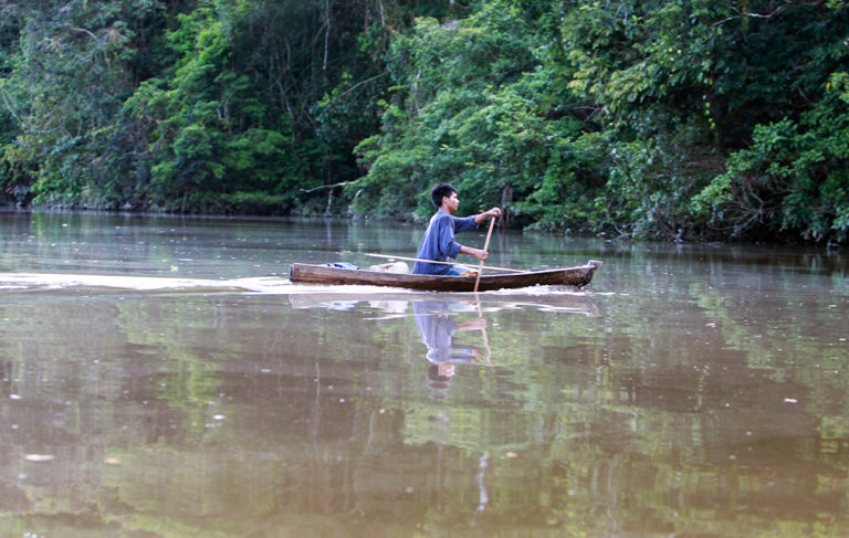 A member of the Indigenous Tikuna nation paddling a dugout canoe on a tributary of the Amazon in Colombia by Rhett A. Butler/Mongabay.