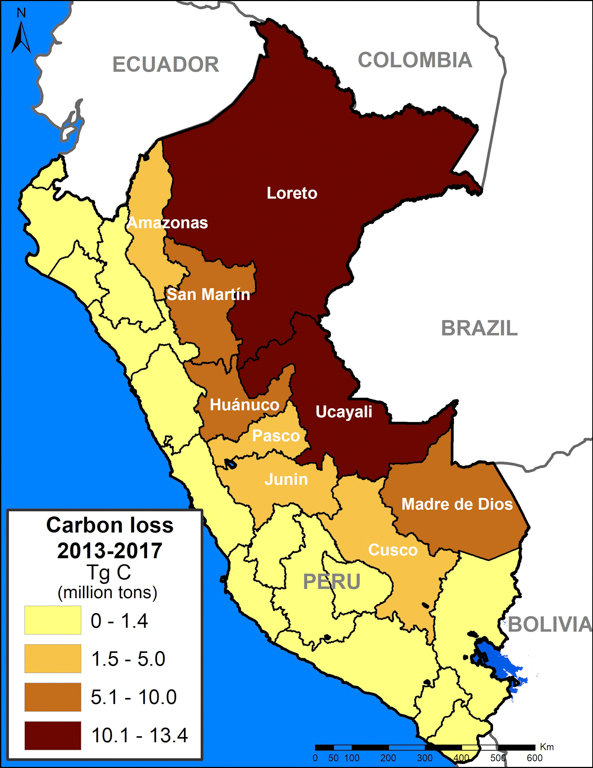 A map of Peru shows the amount of carbon lost by region. Image courtesy of MAAP with data from Asner et al. (2014).