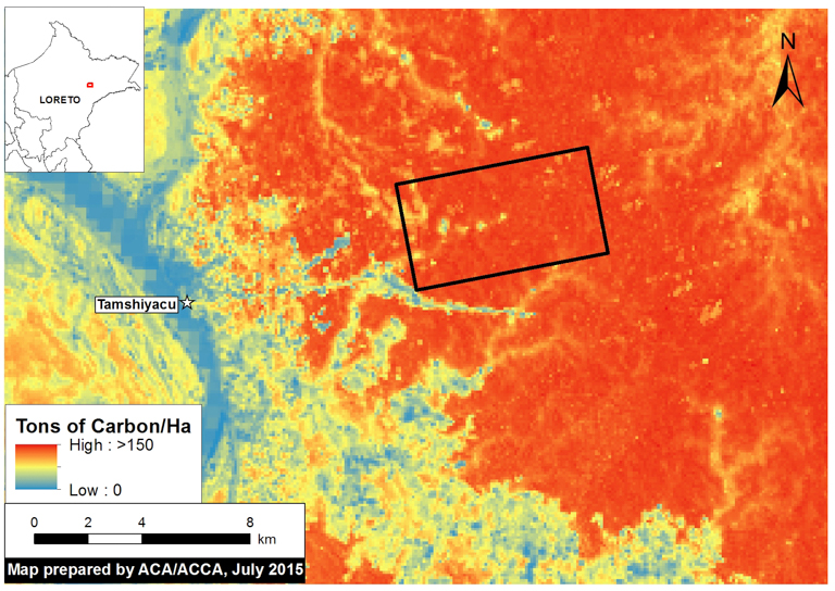 A map shows the density of aboveground carbon storage at the site of the plantation. Image courtesy of MAAP with data from Asner et al. (2014).