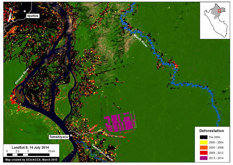 A Landsat image shows the swift clearance for agriculture at the site of the plantation. Image courtesy of MAAP.