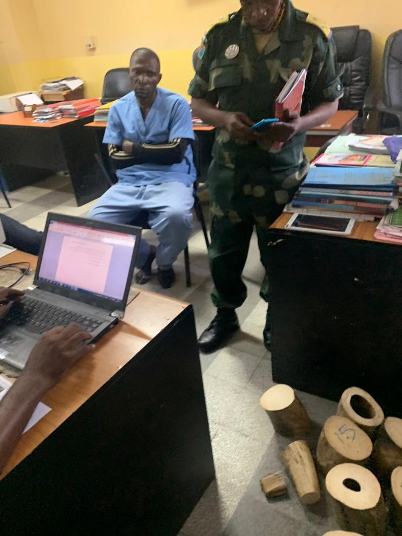 Salomon Mpay in custody in Kinshasa. Image courtesy ICCN.