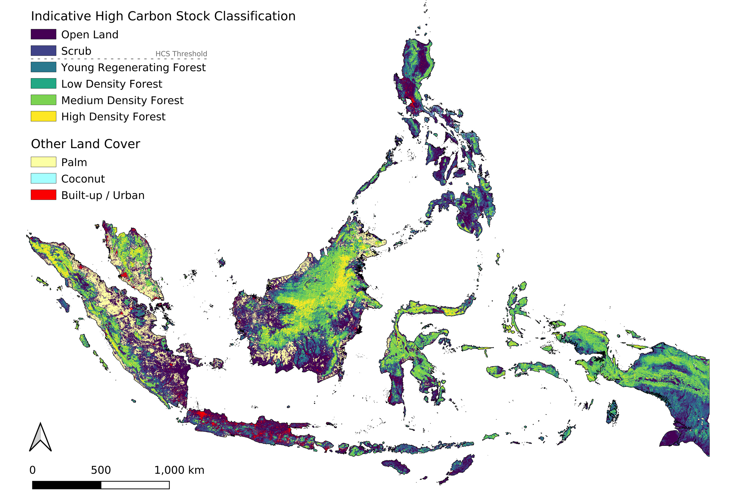 Indicative High Carbon Stock (HCS) map of Indonesia, the Philippines, and Malaysia, courtesy of the EcoVision Lab at ETH Zurich.