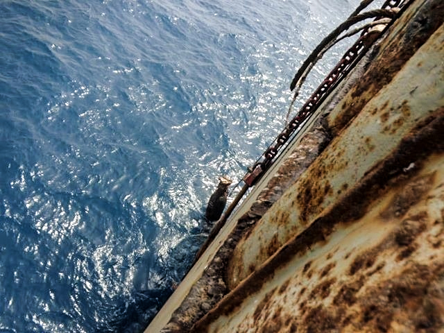 Deterioration of the single hull of the Safer, April 2019. Image supplied with permission by I.R. Consilium.