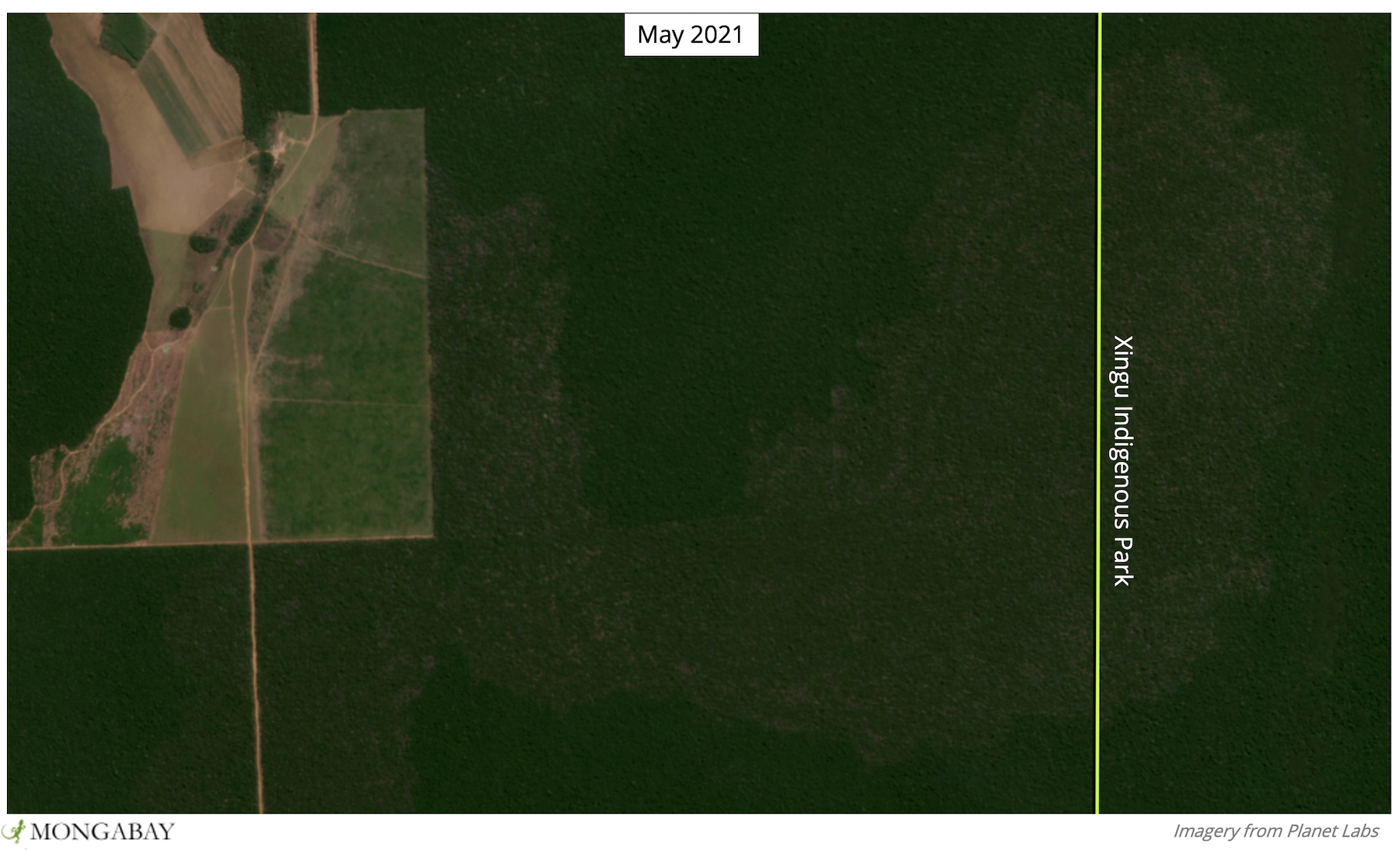 A burn scar shows fire spread from an agricultural field to Xingu Indigenous Park in 2020.