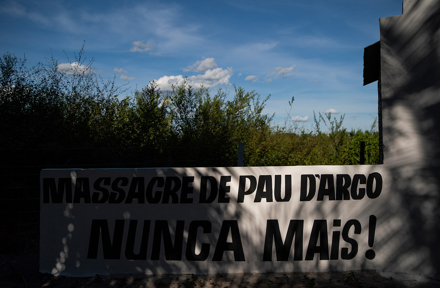 A memorial established at the site of a 2017 massacre of rural workers in Pau D'Arco, Brazil is pictured on Sunday, June 9, 2019.