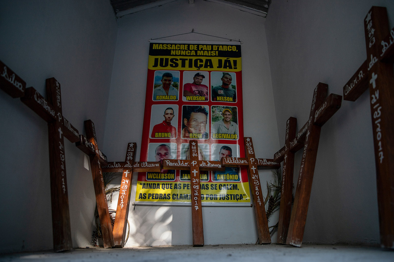 A memorial to those killed in a 2017 massacre of rural workers in Pau D'Arco, Brazil is pictured on Sunday, June 9, 2019.