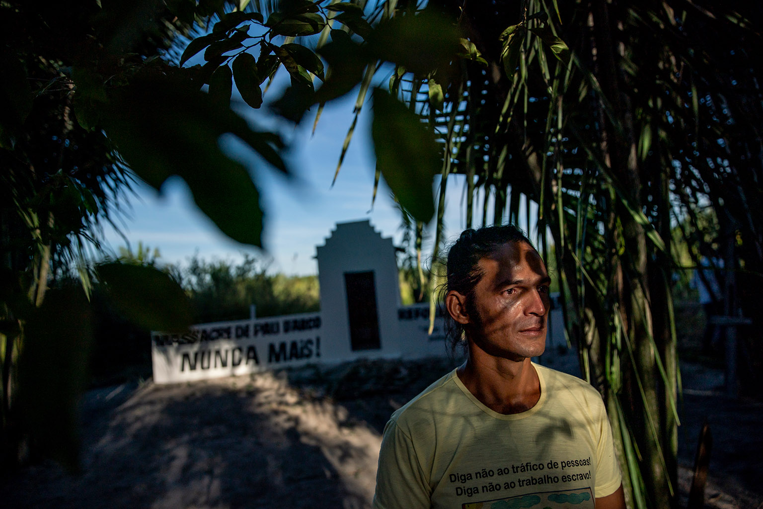 Fernando Araújo poses for a photograph on Sunday, June 9, 2019 at the site of a 2017 massacre of rural workers in Pau D'Arco, Brazil. Fernando survived after hiding in the brush while ten other workers were killed.