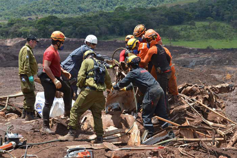 The Minas Gerais Fire Department's search and rescue team look for bodies following the Brumadinho dam disaster in 2019.