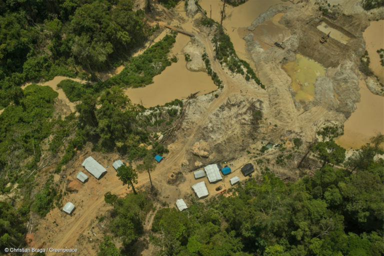 Illegal gold mines in the Munduruku Indigenous Reserve, near the town of Jacareacanga, in Pará state, Brazil.