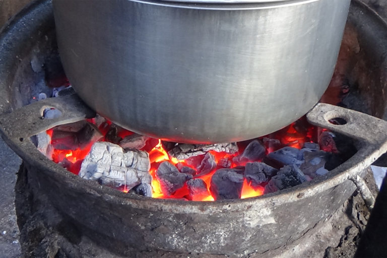 A locally made charcoal stove.The commonly used source of energy for cooking in both rural and urban areas