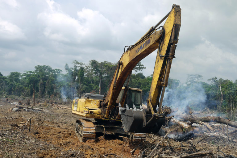 China-funded road-construction project in the Congo Basin. Credit: William Laurance.