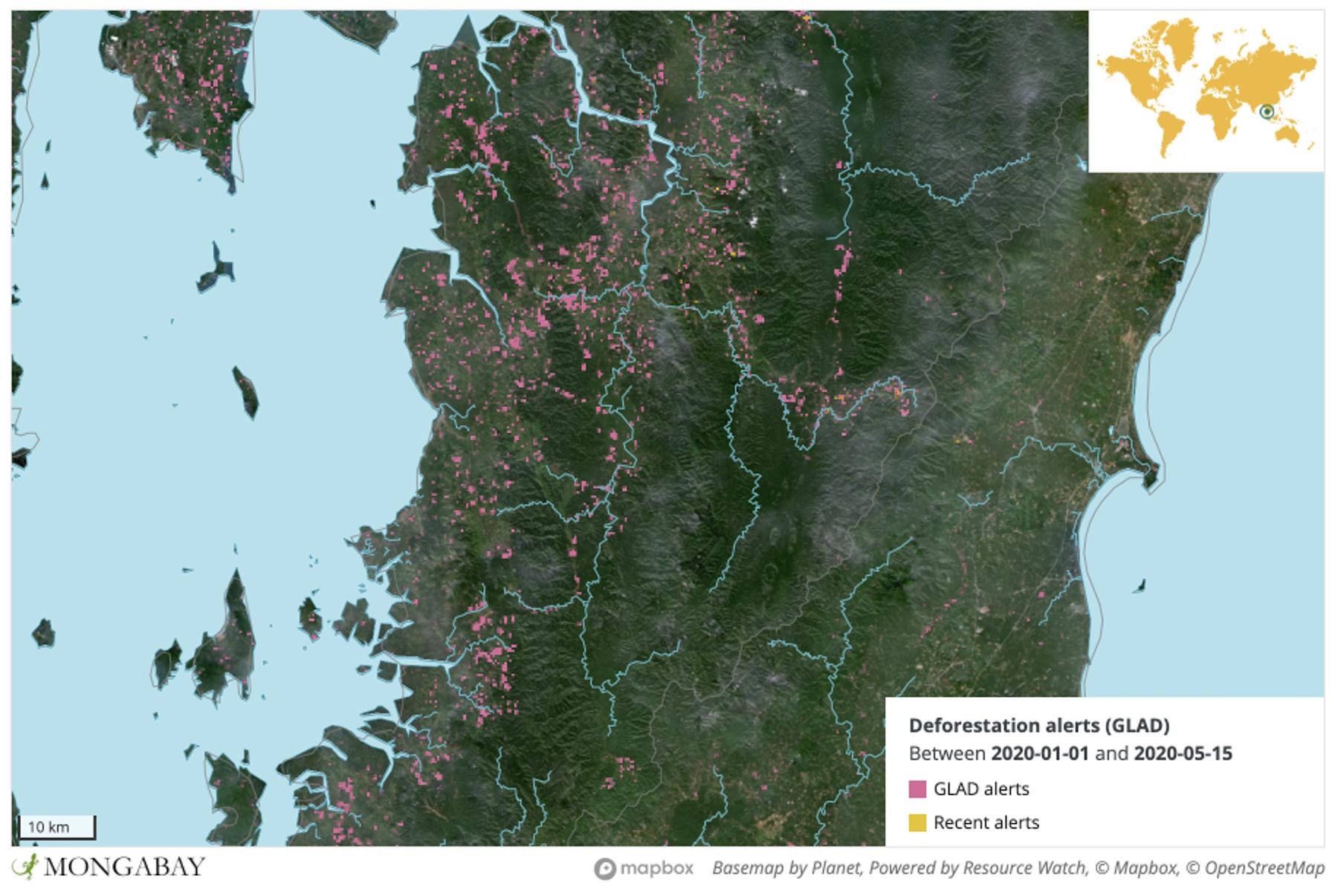 UMD satellite data show high levels of deforestation activity in Kawthoung, Myanmar.