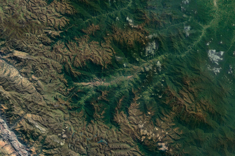 Satellite image showing where the Andes meet the Amazon rainforest. Image credit: NASA.
