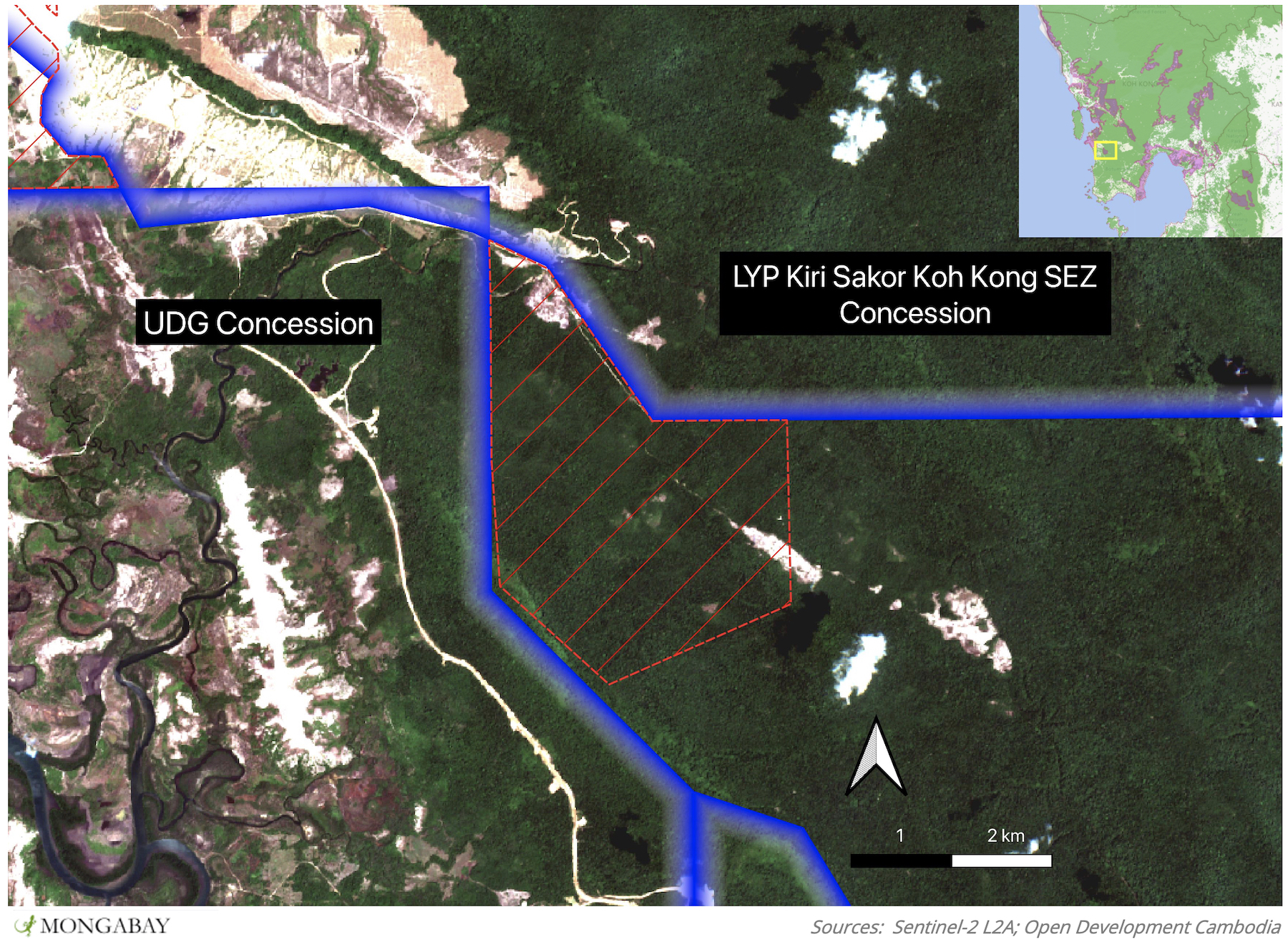 Area (approximately 800 ha) allocated land under sub-decree No. 30 (red) in the Botum Sakor National Park adjacent to two neighbouring concessions allocated to LYP Kiri Sakor Koh Kong SEZ and Union Development Group overlaid onto satellite imagery from 04/03/2021.