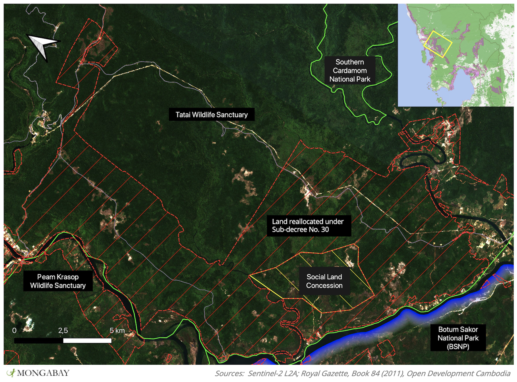 Areas of the allocated sub-decree (red) and a social land concession granted to the military (yellow) in the Tatai Wildlife Sanctuary overlaid onto Satellite imagery from 27/02/2021. Green lines represent protected area boundaries.