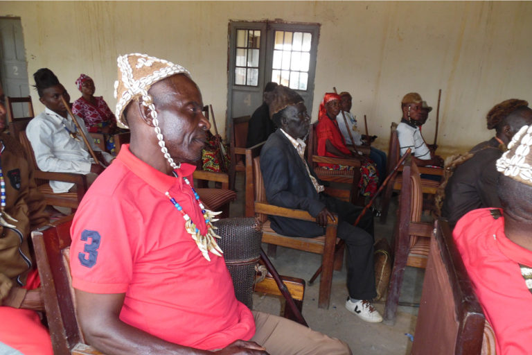 Community members attending a meeting. Photo credit: Strong Roots Congo.