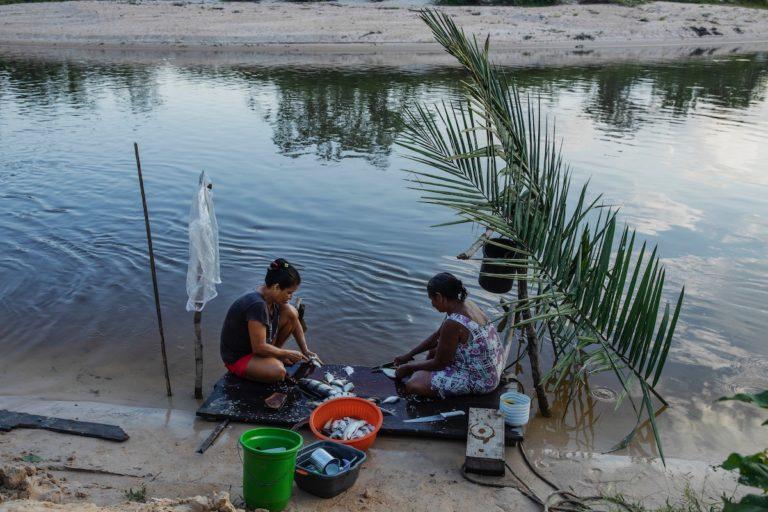Women clean fish
