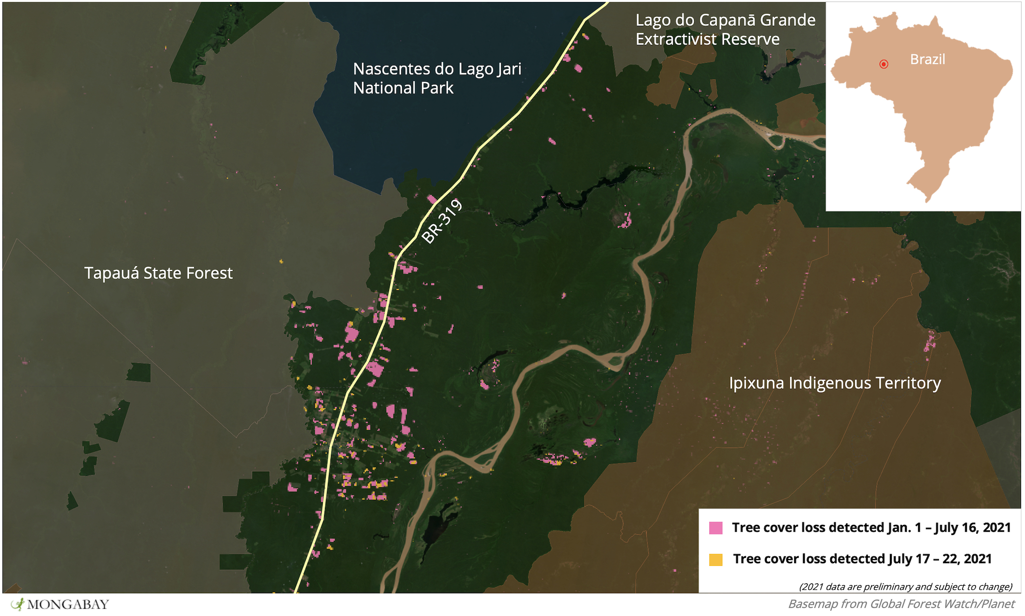 Satellite data from the University of Maryland show a proliferation of deforestation along the southern portion of BR-319 so far in 2021.