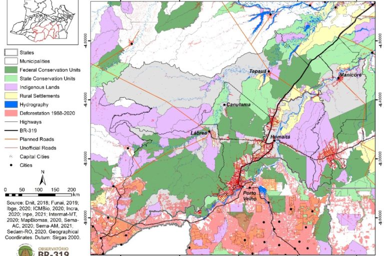 Map of BR-319, associated deforestation and surrounding protected areas. Image courtesy of Idesam/ Observatório BR-319.