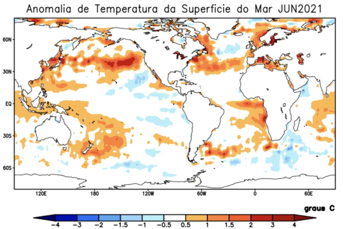 Warm water in the Atlantic and cold water in the Pacific off South America in April 2021. Source: CPTEC/INPE