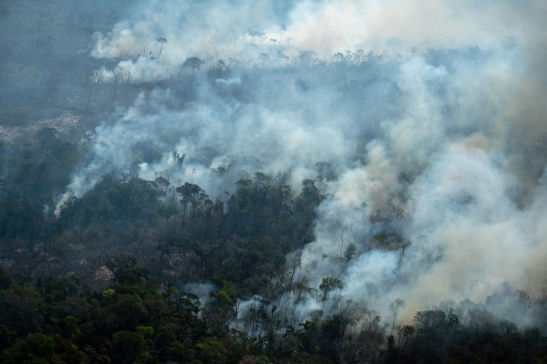 Forest fire in a degraded area in the Mapinguari National Park, in Lábrea, Amazonas state on July 29, 2021. Photo © Christian Braga / Greenpeace