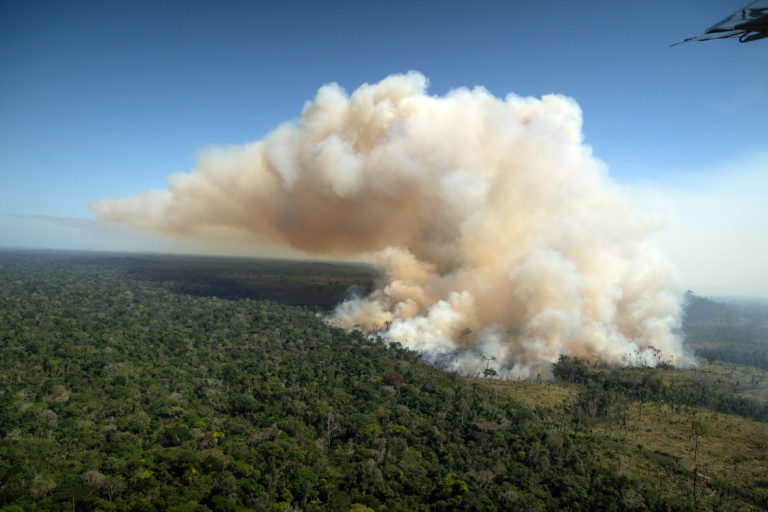Fire in a recently deforested area in Aripuanã, Mato Grosso on Jul 30, 2021. Photo © Christian Braga/Greenpeace