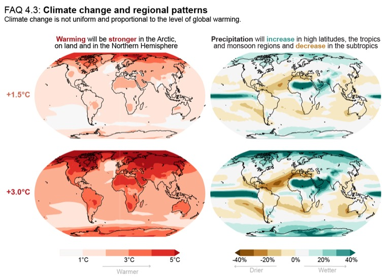 The report suggests that the continued impacts of climate change will be highly variable around the world. Image courtesy of the IPCC (CC BY 4.0).