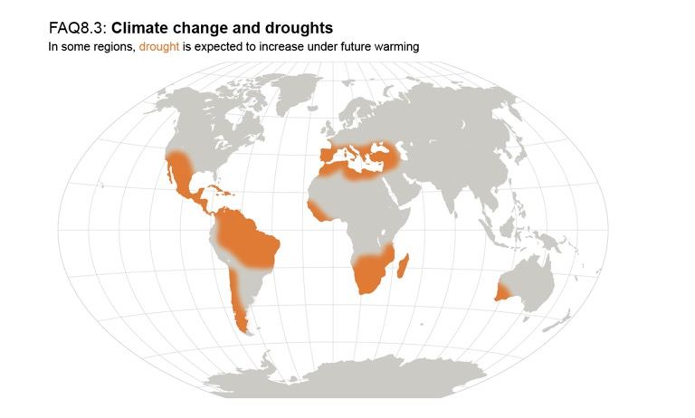 An infographic from the IPCC showing where on Earth droughts will likely become more frequent. Image courtesy of the IPCC (CC BY 4.0).