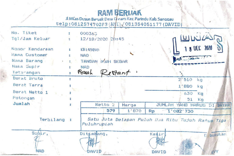 A simple traceability documentation used by oil palm smallholders in Indonesia. Source: Indonesian Oil Palm Smallholder Union (SPKS)