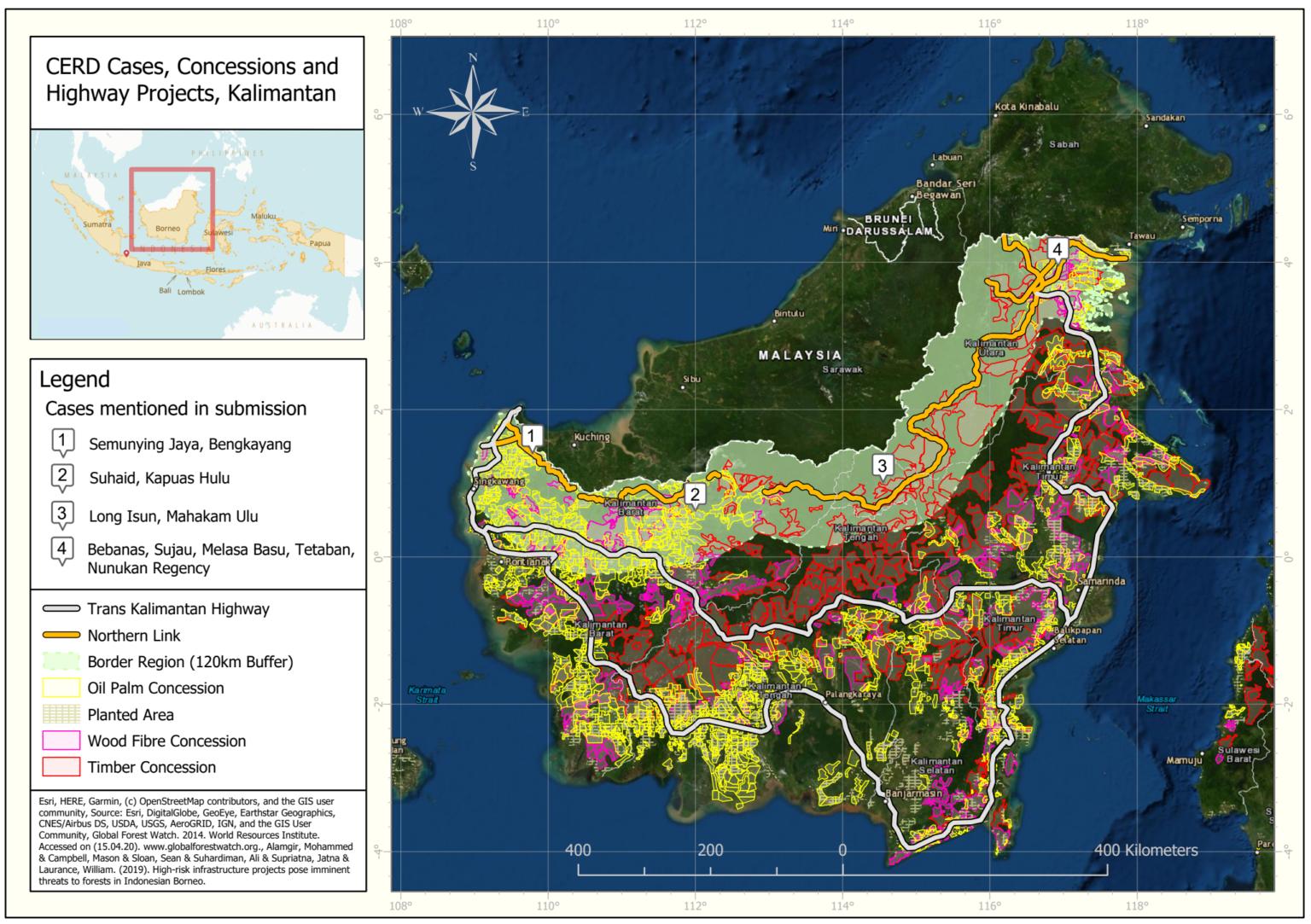 """Tautan utara (oranye) Jalan Raya Trans-Kalimantan memotong Heart of Borneo. Pembangunannya akan mempercepat pengembangan """"sabuk kelapa sawit"""" di wilayah tersebut, kata para ahli. Gambar milik Forest Peoples Programme."""