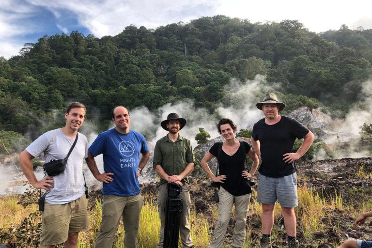 Glenn Hurowitz, Kate Brooks, and crew in Batang Toru, Sumatra.