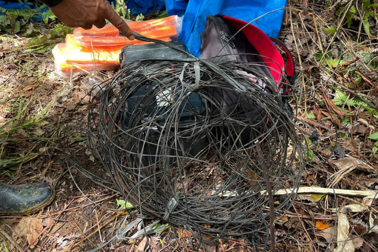 Steel wire from the snare traps in which the tigers were found. Image by Chandra.