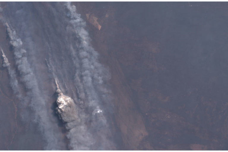 Fires are burning in the Chiquitania region of Brazil.  Image captured on August 22 by Sentinel 2B.