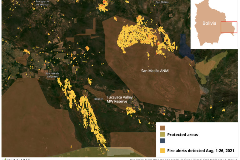 Data from NASA show fires burning in and around protected areas in Bolivia's Chiquitania region in August.
