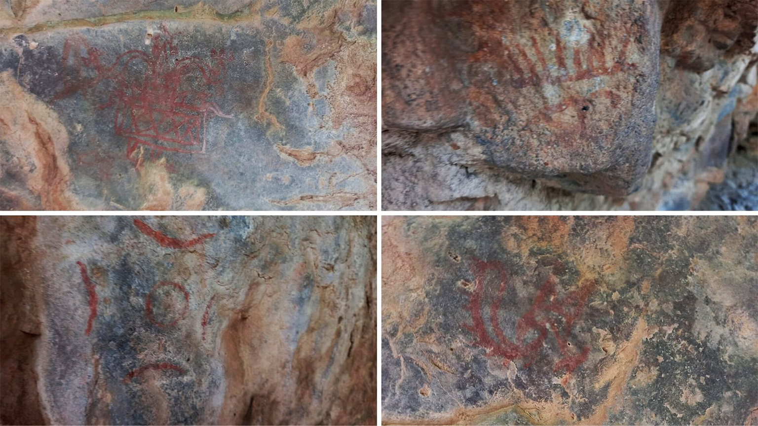 Recent photos of cave paintings that can be found near Mangar village.
